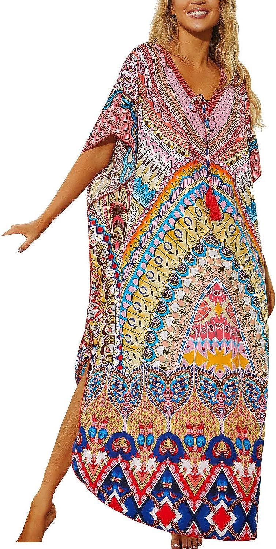 YouKD Traje de Baño de Kimono de Playa Bohemio de Kaftan Largo de Verano para Cubrir Vestido de Talla Grande para Mujer