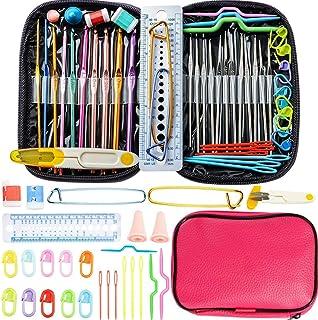 49 pièces Aluminium kit tricot pour le crochet - outils à tricoter avec étui en cuir (Rose)