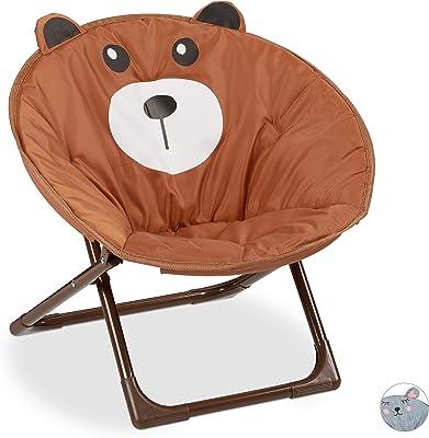 Relaxdays, ours Chaise Lune Enfants, filles et garçonnets, intérieur et extérieur, fauteuil pliable, polyester, fer, 1 élément