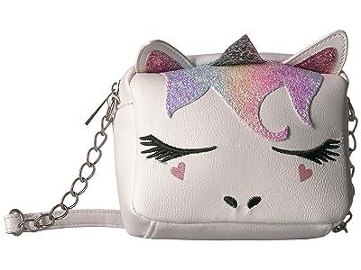 OMG! Accessories Rainbow Glitter Unicorn Crossbody (White) Cross Body Handbags