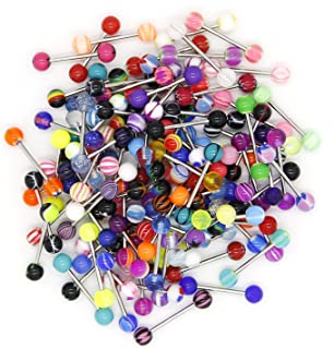 CrazyPiercing 110 PCS Wholesale 14g Tongue Rings Barbells Assorted Colors