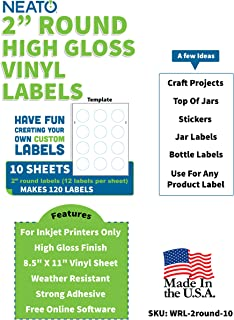 2 Inch Round Labels - White Circle Stickers - Glossy, Vinyl Waterproof Sticker Paper for Inkjet Printers - 10 Sheets, 120 Total Printable Round Labels - Includes Online Design Software
