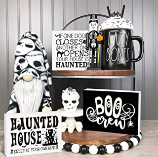 Huray Rayho Halloween Haunted House Tiered Tray Decorations Rustic Wooden Boo Crew Signs Vintage Black and White Collectio...