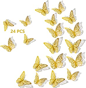 3D Butterfly Wall Decor, 24Pcs 3 Sizes 2 Styles, Removable Wall Srickers Butterfly Wall Decals Room Deccor for Party Decoration Kids Bedroom Nursery Classroom Wedding Decor DIY Gift (Gold)