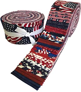 Made in USA Jelly Roll Collection 40 Precut 2.5-inch Quilting Fabric Strips