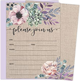 37aa77f7a27 Rustic Burlap Invitations with Florals. 25 Lavender Envelopes and Fill in  the Blank Invites for