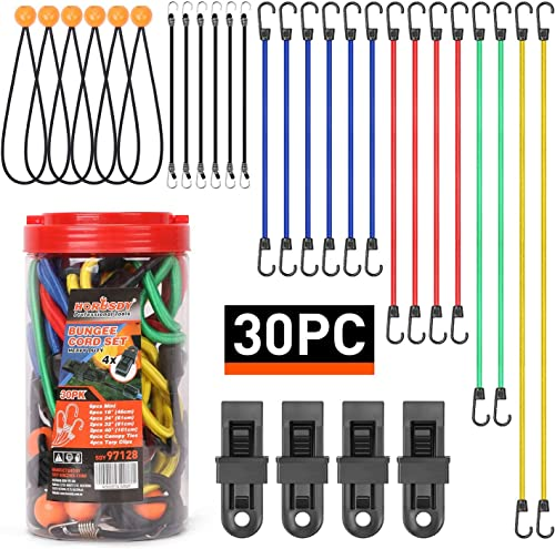 """new arrival HORUSDY 30-Piece Premium Bungee Cords Assortment Jar, Includes 10"""", 18"""", 24"""", new arrival 32"""", 40"""" Bungee Cords, 8""""Canopy/Tarp Ball Ties and Crocodile new arrival Mouth Tarp Clips online sale"""