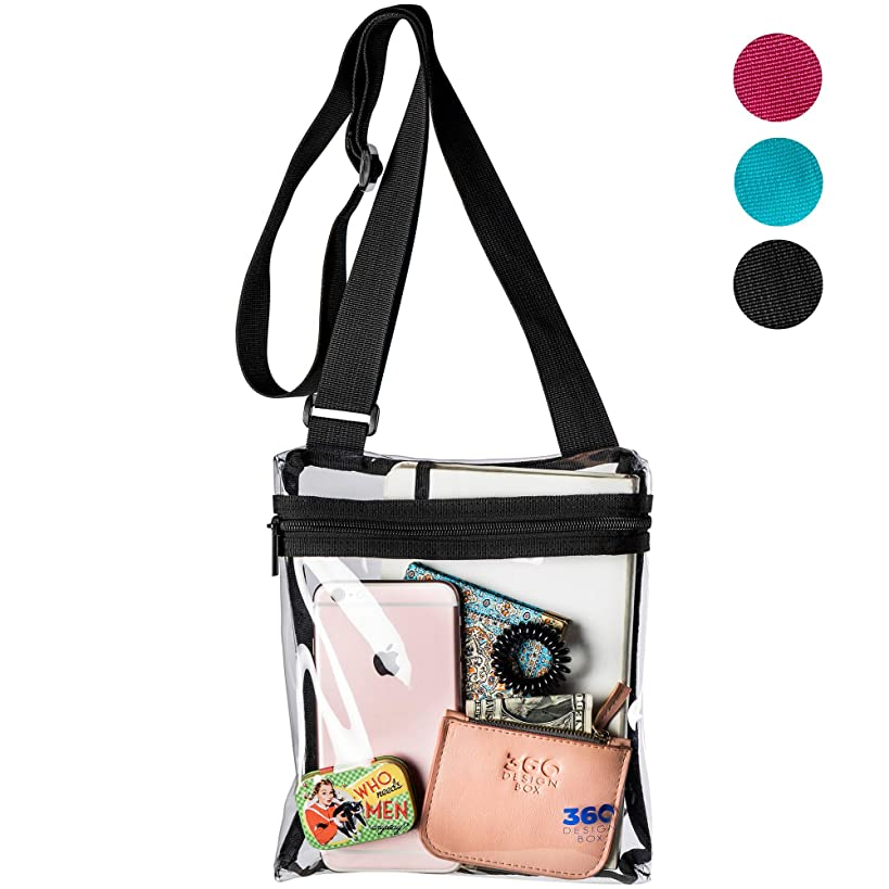 360 DESIGN BOX Clear Cross-Body Messenger Shoulder Bag, PGA, NCAA & NFL Stadium Approved Transparent Purse, See Through Security Handbag