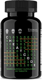 Ultimate Nutrition Cheat Code Nootropic Esports Brain Supplement with 5-HTP – Memory, Energy, and Focus Booster - No Jitters or Crash - Promotes Eye Health & Visual Processing Speeds (30 Tablets)