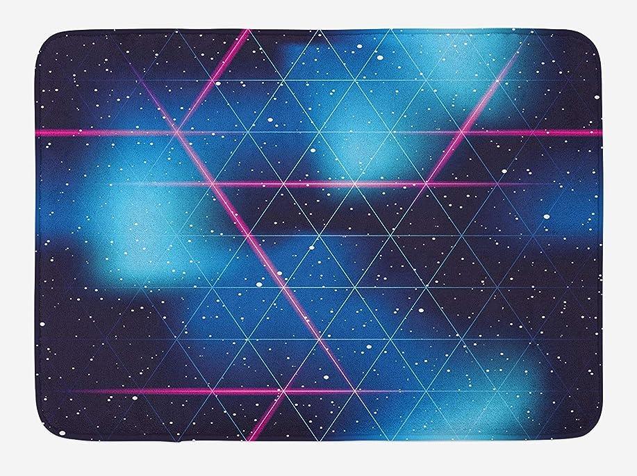 変色するいっぱい推定HiYash ネイビーブルーと赤面のバスマット80年代のレトロな未来的な三角形の仮想現実のサイエンスフィクションオフィスヴィラマット床研究カーペット40×60 cmフランネル滑り止め生地