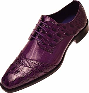 7fa6bb60b34 Bolano Mens Exotic Faux Crocodile and EEL Print Folded Cap Toe Oxford Dress  Shoes, Style