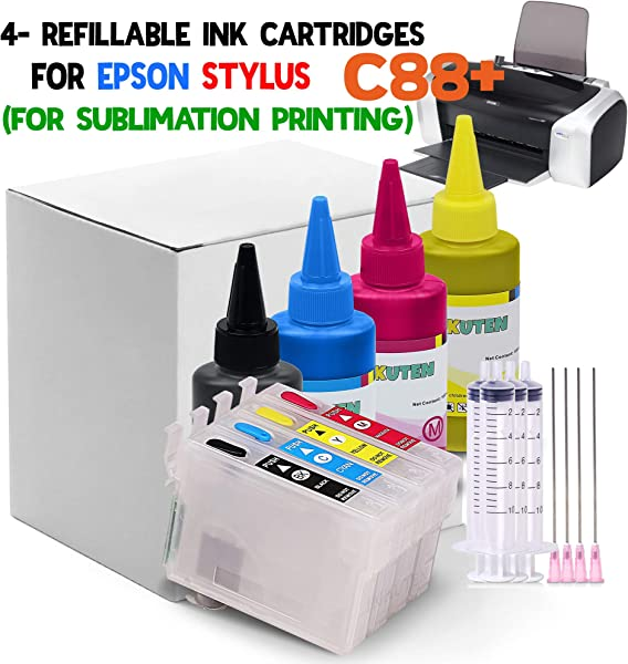 4 C88 Refillable Cartridges With 4x100ml Sublimation Ink And Auto Reset Chips For Sublimation Ink Heat Transfer Printing