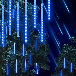 PATOMOS LED Falling Rain Lights, 30cm Meteor Shower Raindrop Lights Blue, 8 Tube 144 LED Cascading Lights for Christmas, Outdoor Decoration