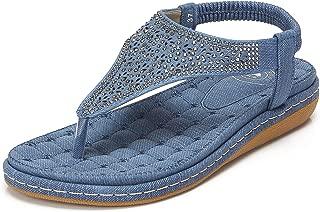 Womens Thong Flat Sandals Summer T-Strap Bohemian Rhinestone Flip Flops Sandal Comfort Walking Slip On Shoes