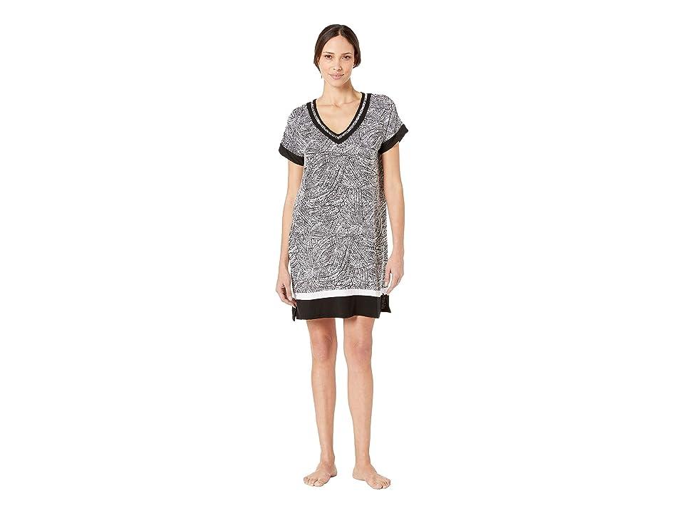 Donna Karan Short Sleeve V-Neck Sleepshirt (Black Print) Women