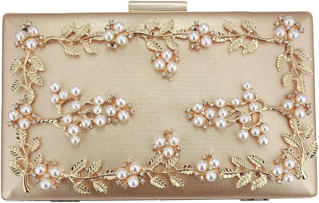 EROUGE Pearl Beaded Evening Handbag Women's Pearl Flower Evening Clutch (Gold)