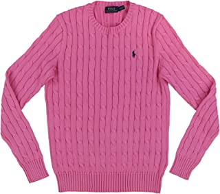 POLO RALPH LAUREN Womens Cable Knit Crew Neck Sweater (Large, Solid Pink)