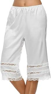 Avidlove Women Snip-it Pettipants Satin Culotte Half Slip Bloomers with Lace Edge S-XXL
