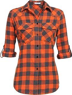 UNibelle Geruit hemd voor dames, lange mouwen, geruit hemd, blouse voor dames, met verstelbare mouwen, casual, vrije tijd,...