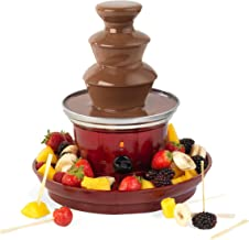 GILES & POSNER Fontaine à Chocolat avec Prise européenne EK3428GVDEEU7 | Plateau de Fruits et 100brochettes en Bambou Inclus