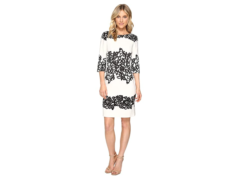 Adrianna Papell Fitted Placed Printed Lace (Ivory) Women