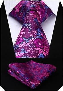 comprar comparacion HISDERN Extra largo Floral Paisley lazo del panuelo Hombres Corbata & Plaza de bolsillo Conjunto