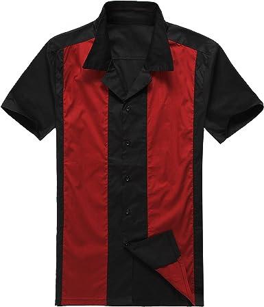 Candow Look moda para hombre casual camisas de vestido cowboy Rojo manga corta vendimia