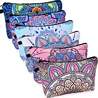 6 Pieces Makeup Bag Toiletry Pouch Waterproof Cosmetic Bag with Mandala Flowers Patterns, 6 Styles (Multicolor Style)
