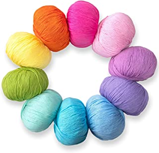 Pure Cotton Yarn Set for Knitting and Crochet,Pack of 10 Skeins,Total 1850 Yards,Great for Baby Blankets and Clothes (Boho...