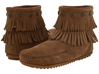 Minnetonka Double Fringe Side Zip Boot (Taupe Suede) Women
