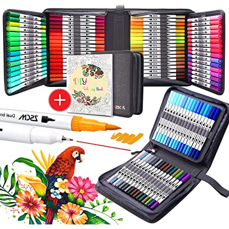 100 Colors Paint Marker Brush Pens for Kids Adults Coloring Books Drawing Sketching Bullet Journaling ZSCM Dual Tips Fine Point Water Based Art Markers Fineliner Calligraphy Pen with Canvas Bag
