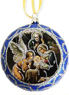 Blue Religious Christmas Ornament Holy Family Icon Nativity Angel St Joseph Saint Mary 4 1/2 Inch