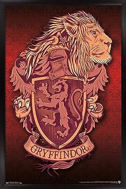 """Trends International Wizarding World: Harry Potter-Gryffindor Lion Crest Wall Poster, 22.375"""" x 34"""", Black Framed Version"""