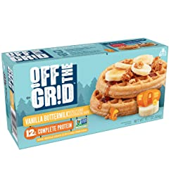 Off the Grid, Frozen Waffles, Vanilla Buttermilk, 12g of Complete Protein, 10.7oz Box (8 Count)