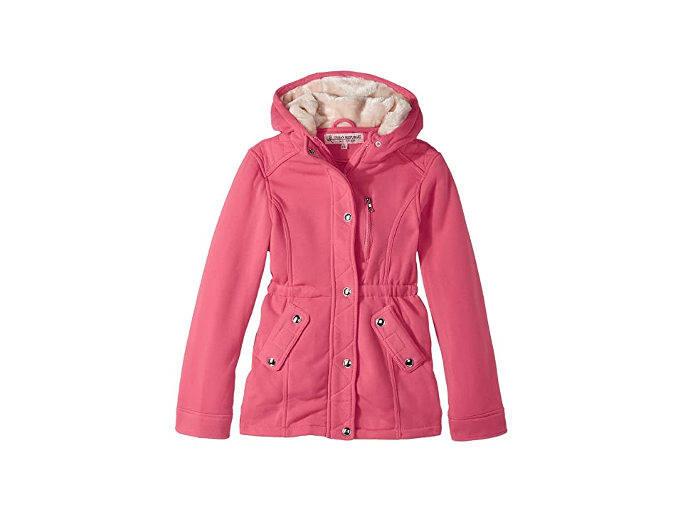 Urban Republic Kids Long Silhouette Fleece Anorak with Pile in Hood (Little Kids/Big Kids) (Pink Marshmallow) Girl