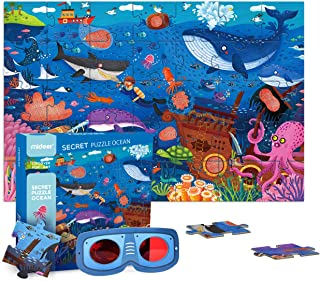 Mideer Secrect Ocean Toddler Jumbo Floor Puzzles with Hidden Picture Game, 35 Thick Paperboard Jigsaw Pieces and A Pair of Gl