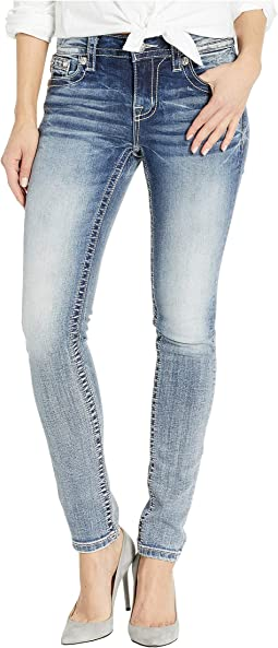 Embellished Skinny Jeans in Medium Blue