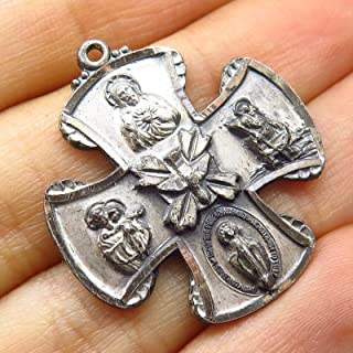 Antique Chapel Sterling Silver Cross of Saints Religious Charm Pendant