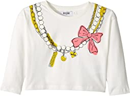 Moschino Kids - Long Sleeve Pearl Necklace Graphic Cropped T-Shirt (Little Kids/Big Kids)