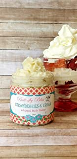 Strawberries and Cream Whipped Body Butter, natural lotion, organic, 8oz jar, made with shea butter, mango butter, coconut oil, almond oil