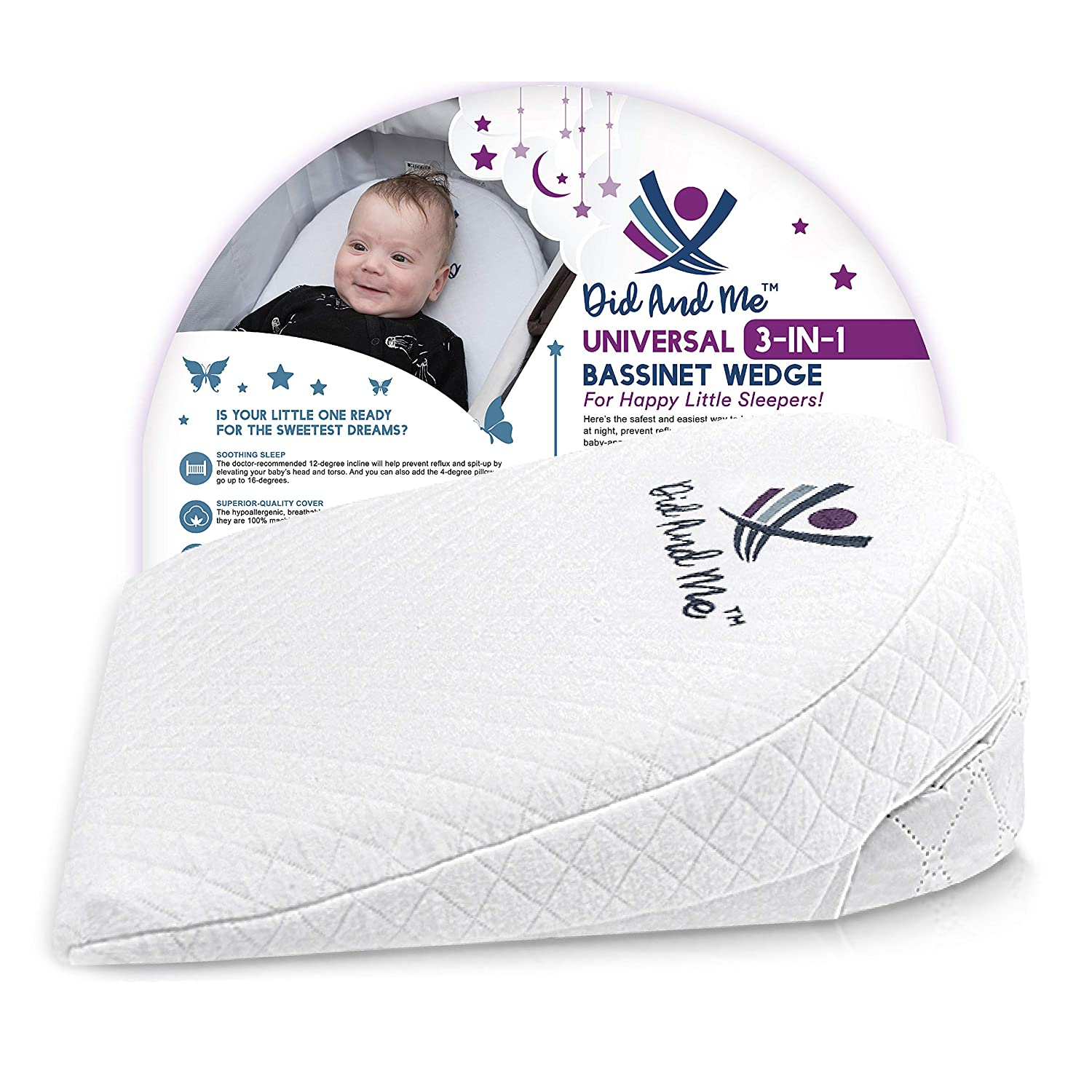 DID AND ME Bassinet Wedge Universal Newborn Infant Pillow
