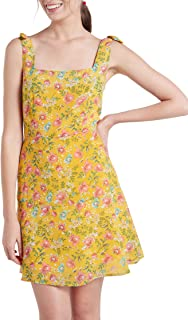 Our Heritage – Women's Square-Neck Mini Fit-and-Flare Dress with Tie-Up Sleeves