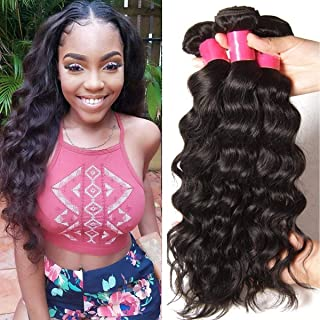 YIROO Brazilian Natural Wave Virgin Hair Weave 3 Bundles 9A 100% Unprocessed Human Hair Weft Extensions Natural Color 95-100g/pc (8 10 12')