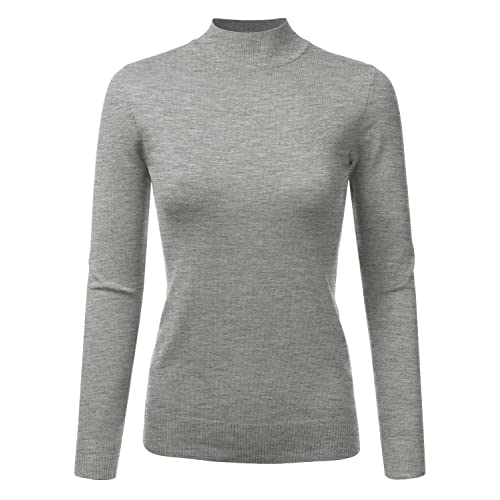 JJ Perfection Women s Soft Long Sleeve Mock Neck Knit Sweater Top 32a54b220