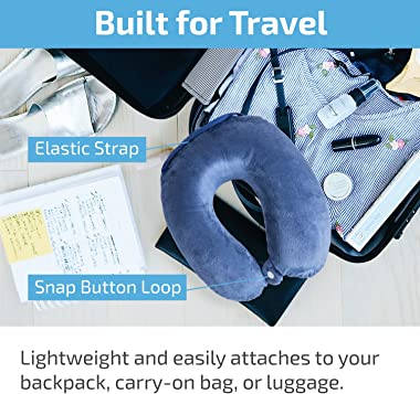 JETPAL Memory Foam Plush Travel Neck Pillow with Button Clip for Better Sleep and Neck Posture