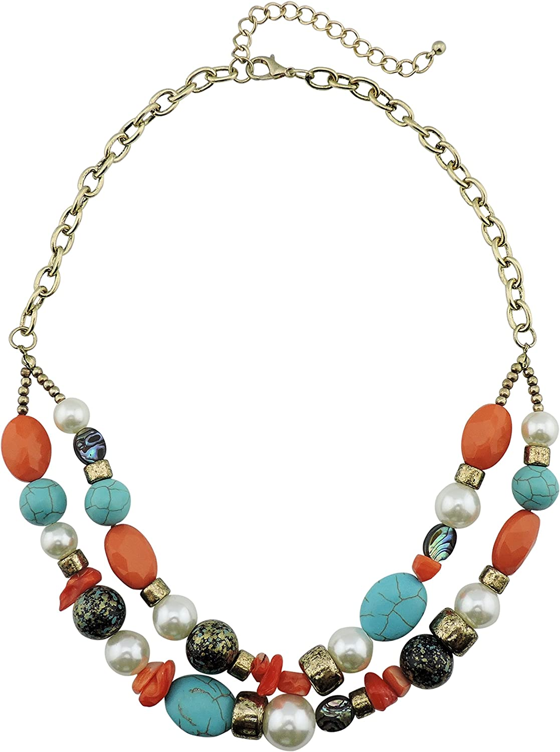 Firstmeet 2 Layer Statement unisex Turquoise Collar Women for Colorado Springs Mall Necklace