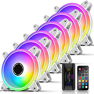 EZDIY-FAB White Moonlight 120mm RGB Case Fan with Fan Hub X and Remote,Motherboard Aura SYNC,Speed Control,Addressable Fan...