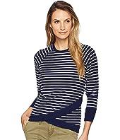 Round Neck Stripe Reglan Sleeve Crisscross Hem Sweatshirt