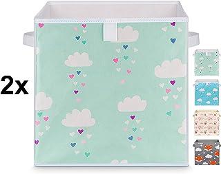 Just For You - Juego de 2 cajas para juguetes (33 x 33 x 33 cm, con asas), diseño de estrellas, nubes y menta