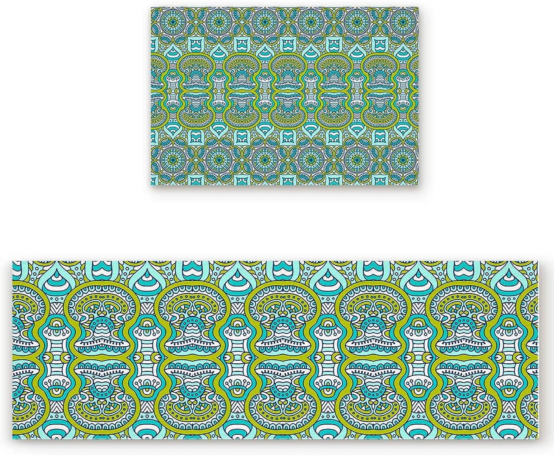 2 Piece Non-Slip Kitchen Bathroom Entrance Mat Absorbent Durable Floor Doormat Runner Rug Set - Vintage Palace Style Pattern